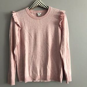J. Crew Factory Sweaters - J Crew Factory Ruffle Shoulder Crewneck Sweater